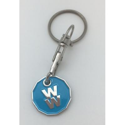 Image of Enamelled trolley coin keyring