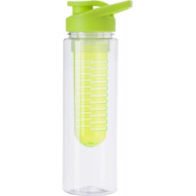 Image of Tritan water bottle (700 ml) with fruit infuser. The screw cap has a drink opening