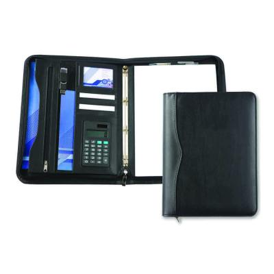 Image of Black Houghton A4 Deluxe Zipped Ring Binder With Calculator