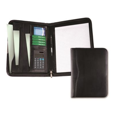Image of Black Balmoral Leather A4 Deluxe Zipped Conference Folder With Calculator