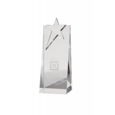 Image of 18cm Optical Crystal Star Rectangle Award